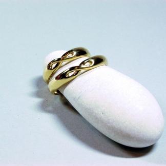 Eheringe aus 585/-Gelbgold mit der Acht für Unendlichkeit das 585/-Gelbgold stammt aus alten Eheringen
