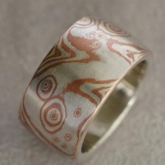 Mokume Gane breiter Fingerring aus 925/- Silber und Kupfer