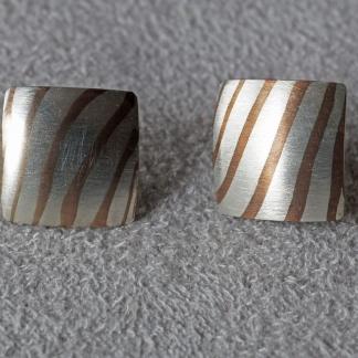 Mokume Gane Ohrstecker, viereckig aus 925/- Silber und Kupfer