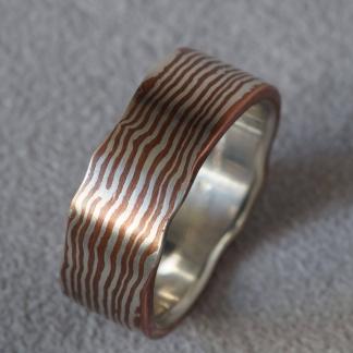Mokume Gane Fingerring aus 925/- Silber und Kupfer
