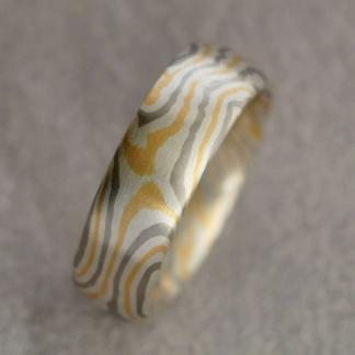 Mokume Gane Fingerring mit 4 Sterne aus 925/-Silber, 917/- Gold, 500/-Palladium