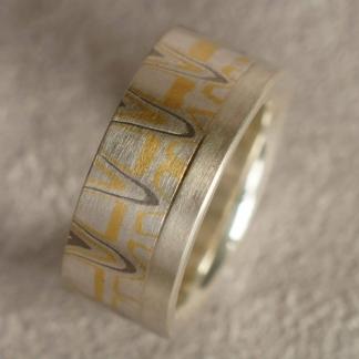 Mokume Gane Fingerring aus 925/-Silber, 917/- Gold, 500/-Palladium