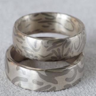 Mokume Gane Fingerringe aus 925/- Silber, 500/- Palladium mit Wabisabi Muster