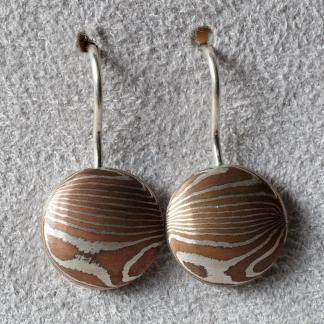 Mokume Gane Ohrhänger aus 925/- Silber und Kupfer