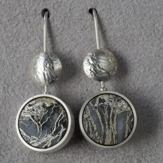 Ohrhänger aus 925/- Silber mit runden Federpyrit
