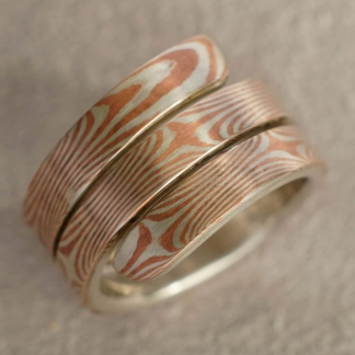 Mokume Gane Fingerring, tordiertes Muster aus 925/- Silber und Kupfer