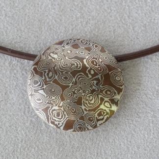 Mokume Gane Anhänger, Silber/Kupfer, rund Linse, mattiert freies Muster, Kringel/Kreise