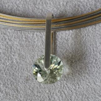 Anhänger, 925/- Silber mit facettiertem, runden Prasiolith