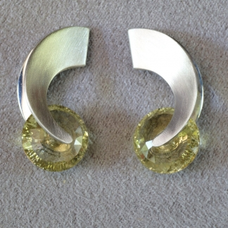 Ohrstecker 925/- Silber mattiert Edelstein Zitrin facettiert, rund hell gelb, ohne Fassung