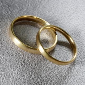 Trauringe 750/- Gelbgold Waschgold aus Finnland SUOMI, mattiert