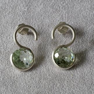 Ohrstecker 925/- Silber mattiert Edelstein Prasiolith facettiert, rund hellgrün