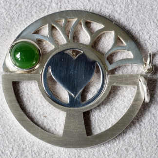 Familienschmuck 2019, 925/- Silber mit Jade grün rund Cabochon